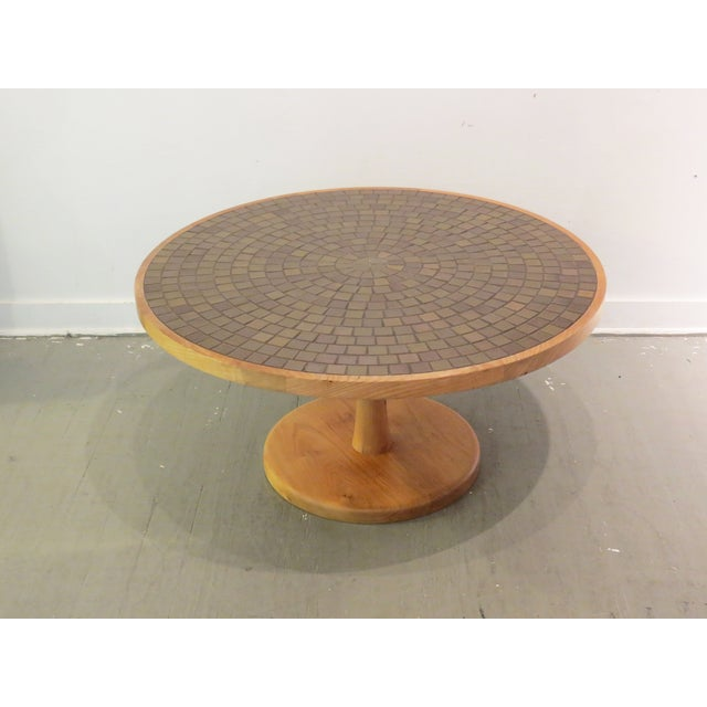 Vintage Round Martz Tile Top Coffee Table - Image 4 of 7