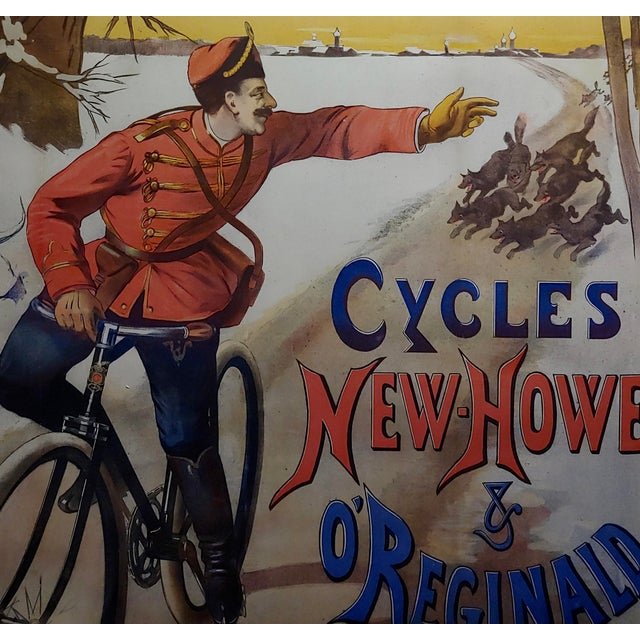 Gaston Fanty-Lescure Rare 1896 French Bicycle Poster For Sale - Image 4 of 9