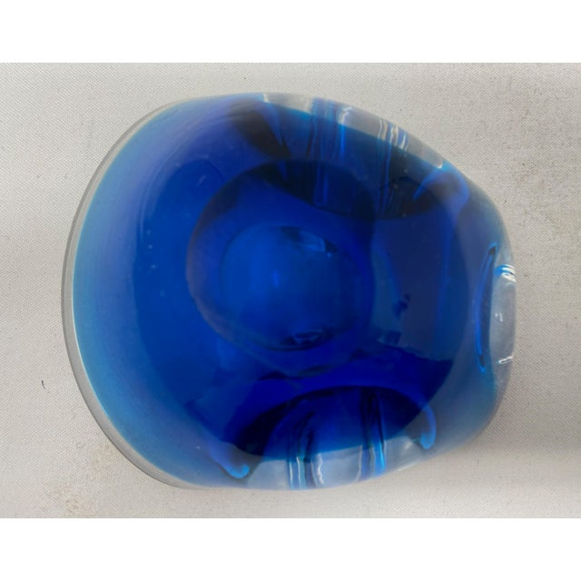 Glass Vintage Murano Cobalt Pinched Glass Ashtray Catchall For Sale - Image 7 of 8