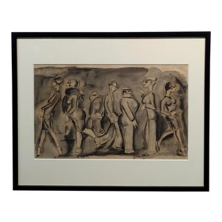 "John Held Jr. ""Caricature of People in the Street"" Painting C.1925 For Sale"