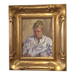 "Original ""The Model"" Portrait Oil Painting on Linen by Gordon Wetmore For Sale"