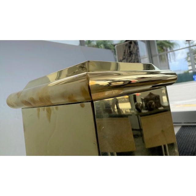 "30"" Polished Brass Pedestal by Crafts For Sale - Image 11 of 13"