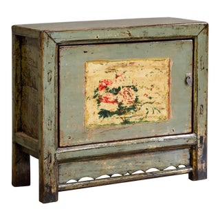 Antique Gray Painted Chinese Cabinet For Sale