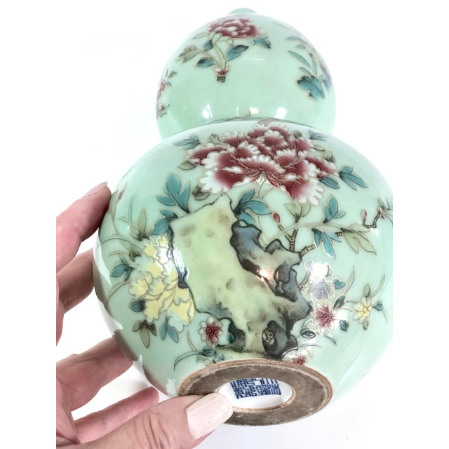 Chinese Celadon Porcelain Double Gourd Vases With Hànzì and Floral Motif - a Pair For Sale In New York - Image 6 of 13