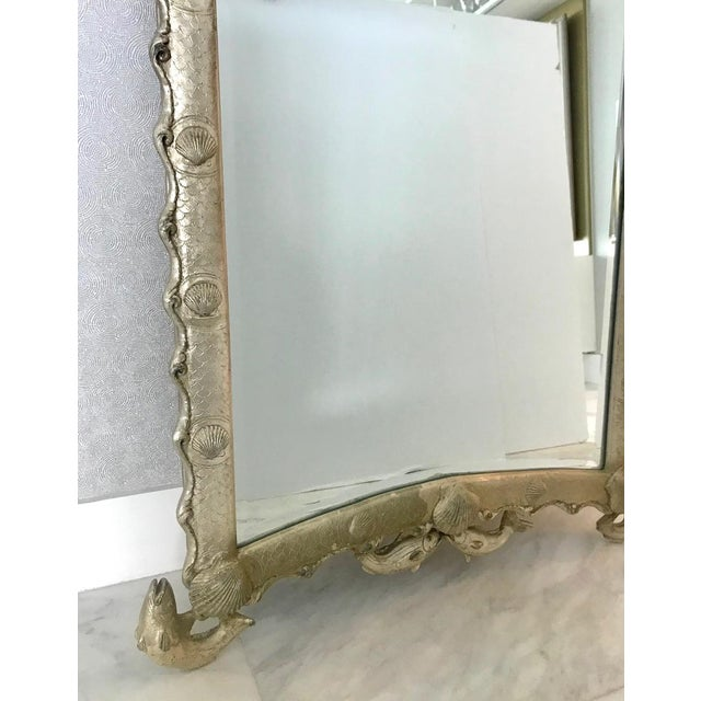 Exquisite Hollywood Regency Scalloped Mirror in Antique Sterling Silver Leaf For Sale - Image 11 of 13