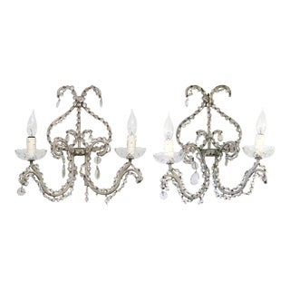 1940's Crystal & Iron Sconces - a Pair For Sale