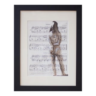 Figurative Watercolor on Vintage Music Sheet, Andante For Sale