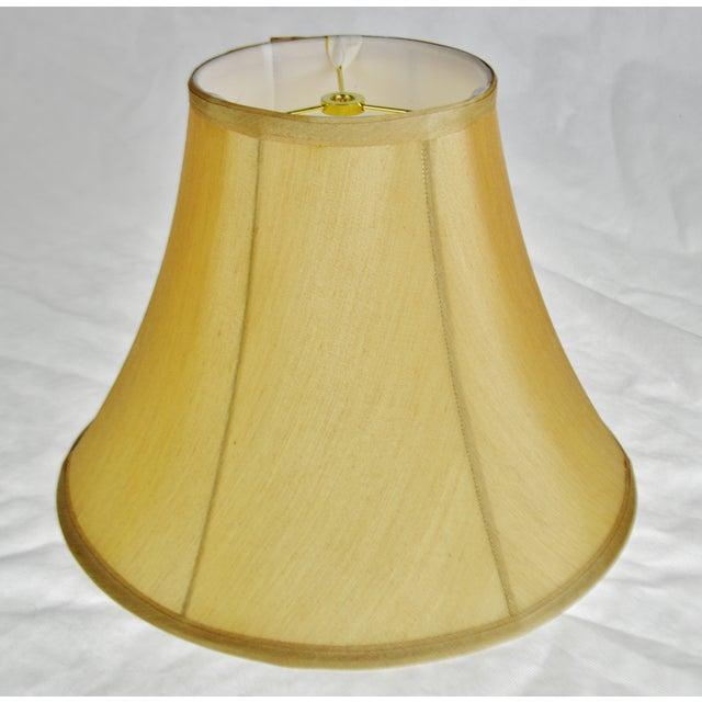 Vintage Tan Fabric Lined Bell lampshade For Sale - Image 10 of 11