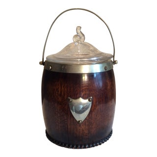 Vintage English Polished Oak Ice Bucket For Sale