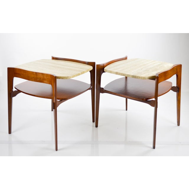 Travertine & Walnut Modern Side Tables - Pair by Bertha Schaefer - Image 2 of 11