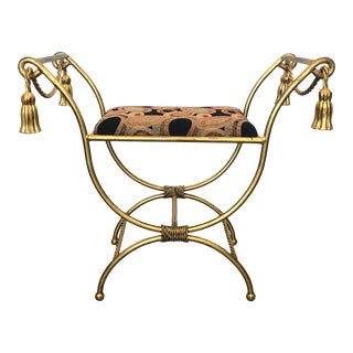 Twisted Rope and Tassel Gilt Italian Iron Bench For Sale