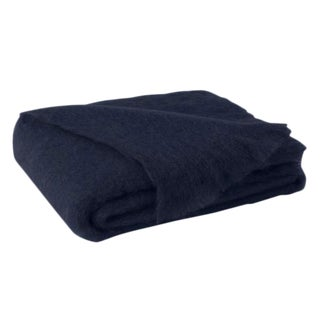 Navy Brushed Mohair Throw For Sale
