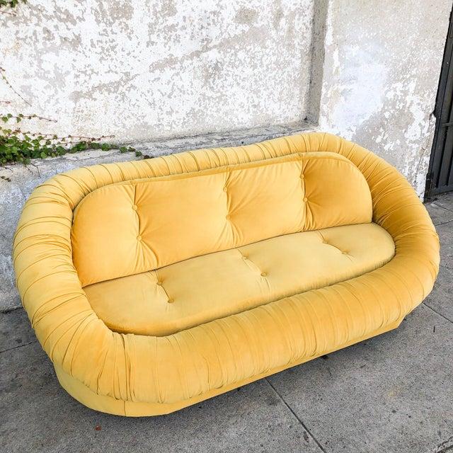 Mid-Century Modern Vintage Lemon Yellow Velvet Reupholstered Loveseat For Sale - Image 3 of 8
