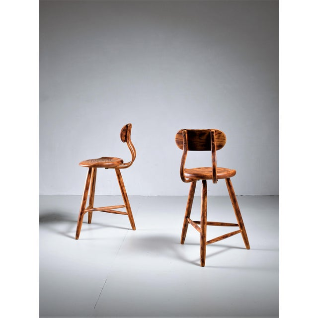 Kai Pedersen studio pair bar stools with removable backrest , USA, 1983 For Sale - Image 4 of 5