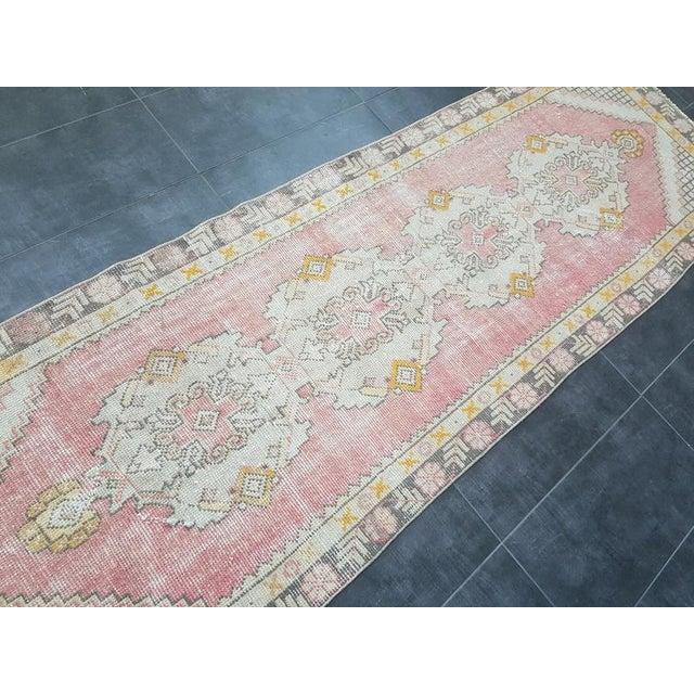 Vintage Faded Oushak Floral Handmade Rug- 2′11″ × 9′1″ For Sale - Image 10 of 11