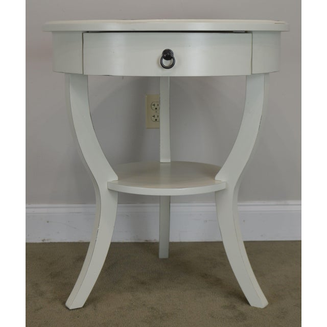 Round White One Drawer Side Table For Sale - Image 10 of 13