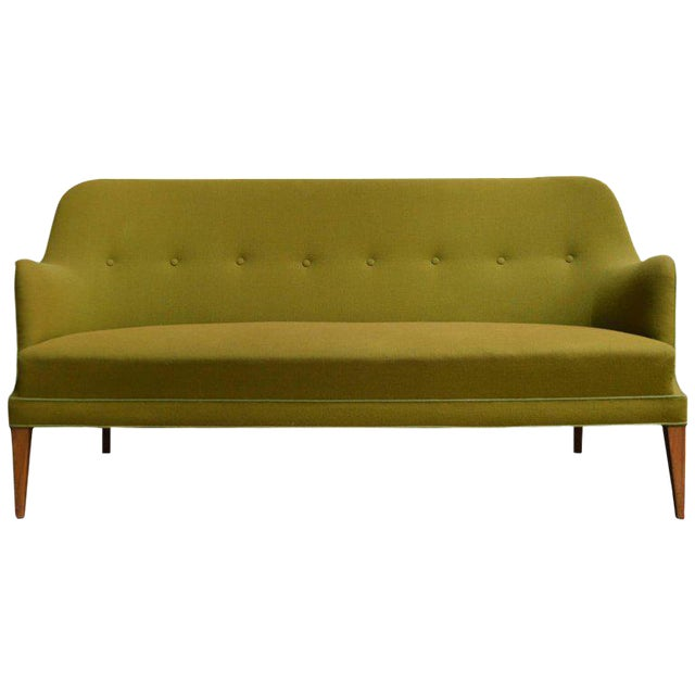 Mid-Century Scandinavian Modern Green Tweed Sofa in the Style of Carl Malmsten For Sale