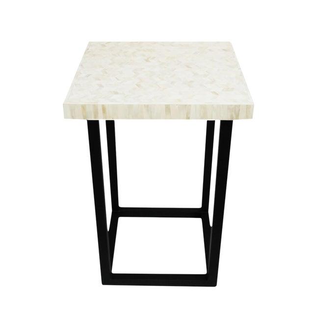 White Herringbone Inlay Side Table For Sale