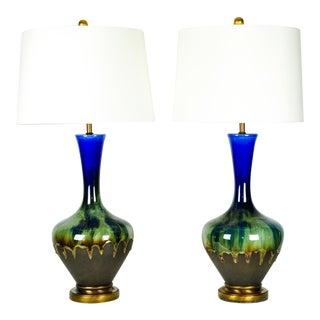 Vintage Porcelain Brass Base Table Lamps - A Pair For Sale
