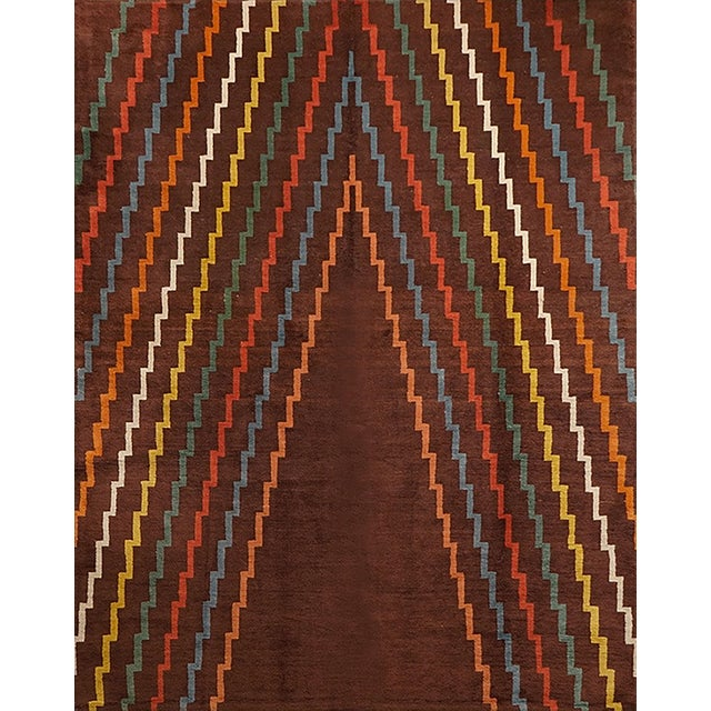 Aztec Design Geometrical Wool Rug, Circa 1940s For Sale - Image 4 of 4
