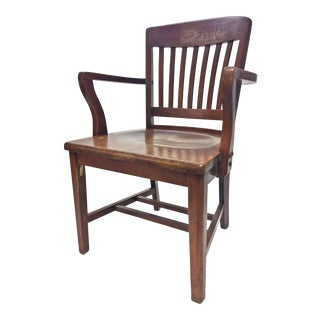 Vintage Industrial Wood Banker's Office Chair by High Point