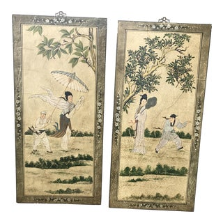 Vintage Hand Painted Asian Wall Art - A Pair For Sale