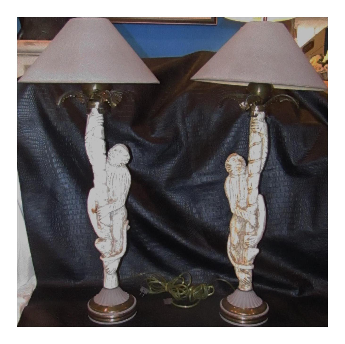 Vintage Monkey Lamps   A Pair