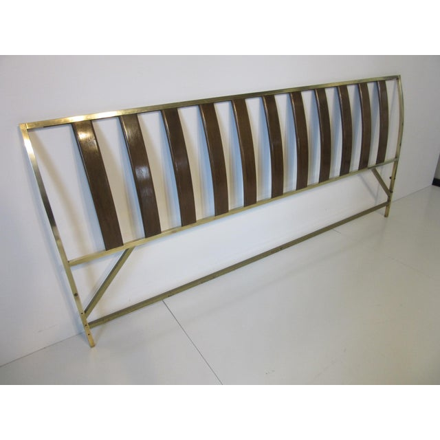 Harvey Probber Queen Sized Brass / Mahogany Headboard For Sale - Image 9 of 9