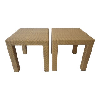 Modern Oscar De La Renta Parsons Side Tables in Faux Wicker - a Pair For Sale
