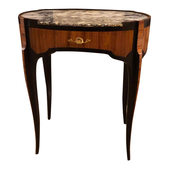 18th Century Louis XV Table With Marble Top Oval Shape For Sale