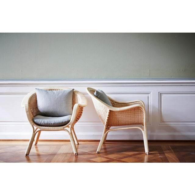 Mid-Century Modern Nanna Ditzel Madame Chair - Natural - Sunbrella Sailcloth Seagull Seat and Back Cushion For Sale - Image 3 of 5