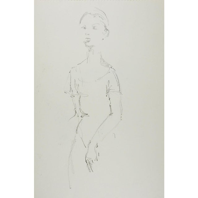 Traditional Vintage Pencil Female Dancer Drawing Study For Sale - Image 3 of 3