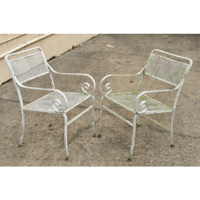 Aluminum Late 20th Century Vintage Cast Aluminum Scroll Arm Metal Patio Dining Table & Chairs - Set of 7 For Sale - Image 7 of 13