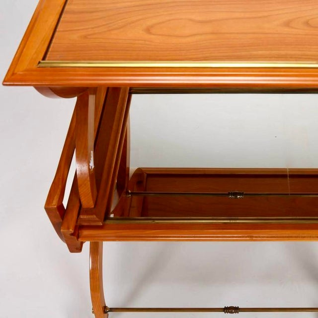 French Mid-Century Serving Trolley & Coordinating Self Storing Table - Image 10 of 11