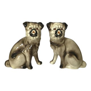 Vintage Porcelain Pug Foo Dog Style Statues - A Pair For Sale