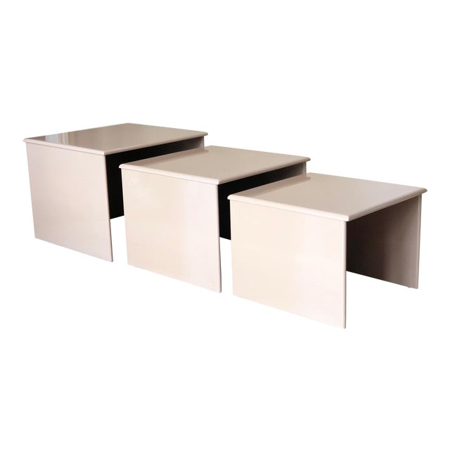1980s Contemporary Tan Laquer Nesting Tables - Set of 3 For Sale
