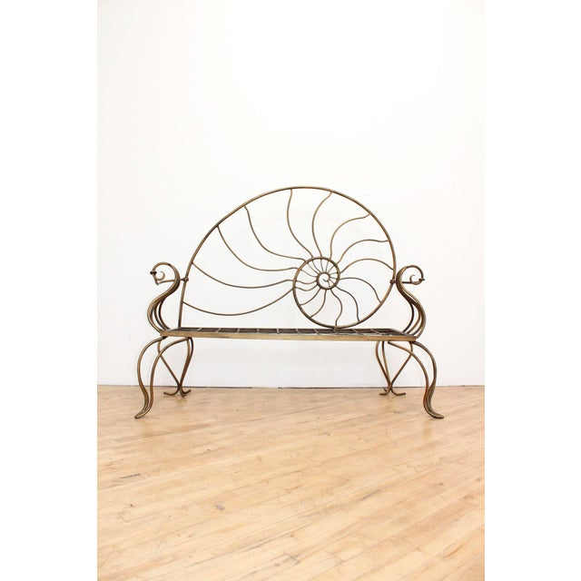 1950s Hand Forged Louis XV Nautilus Bench- Vintage Wrought Iron Settee W/ Bronze Patina For Sale - Image 5 of 7