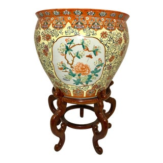 20th Century Chinese Porcelain Jardiniere - Planter - Fish Pot With Stand For Sale