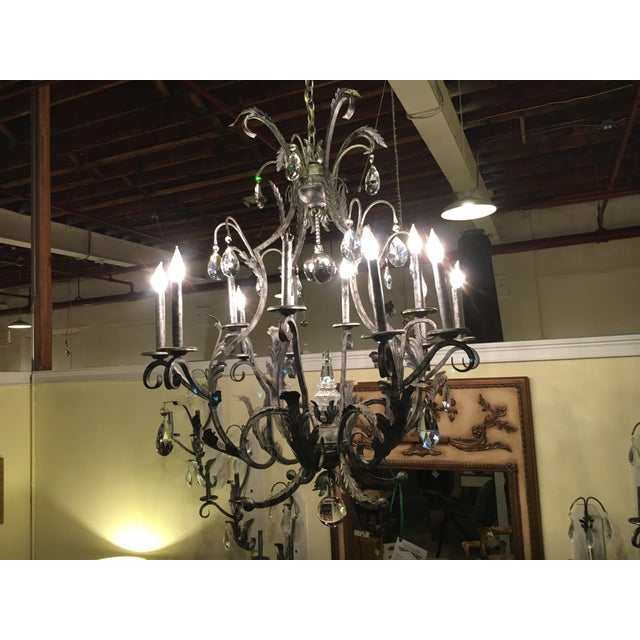 Gothic Schonbek Rustic Silver Metal Chandelier For Sale - Image 3 of 10