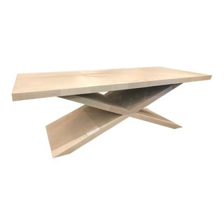White Wash X Base Coffee Table For Sale
