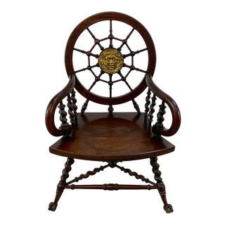 American High Victorian 'Sailors' Motif Medusa Medallion Armchair For Sale