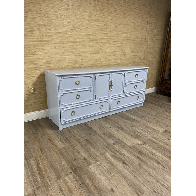 Vintage Drexel Kensington faux bamboo credenza with 9 drawers and 2 cabinet doors professionally lacquered Ben Moore...