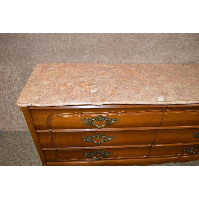 Stone 1950s French Provincial Solid Cherry Marble Top Dresser For Sale - Image 7 of 13