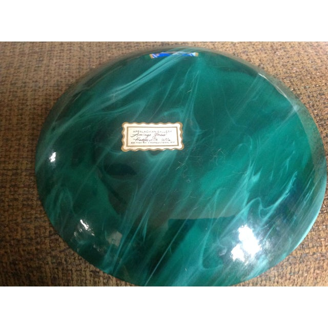 Contemporary Vintage Amingo Aqua Opalescent Glass Plate For Sale - Image 3 of 6