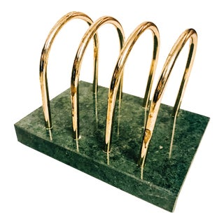 Vintage 1980's Art Deco Inspired Green Marble and Brass Desk Organizer For Sale