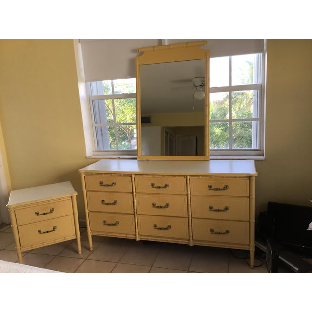 Mid-Century Modern 1960s Vintage Faux Bamboo Dresser, Nightstand & Mirror For Sale - Image 3 of 7