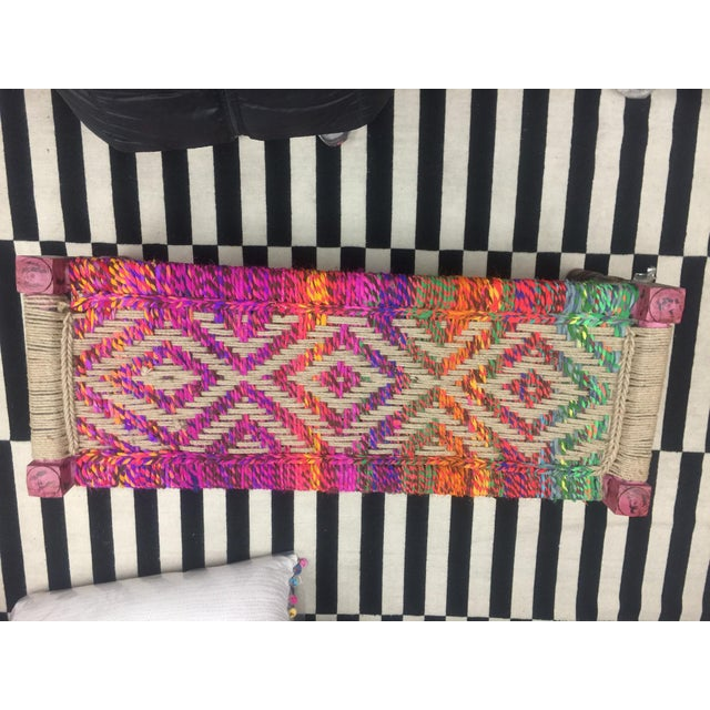 Coco Multicolored Woven Bench - Image 2 of 5