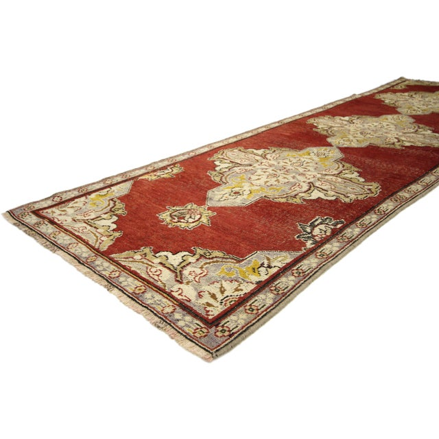 50227 Jacobean Style Antique Turkish Oushak Hallway Runner, 03'04 x 10'07. This hand-knotted wool antique Turkish Oushak...
