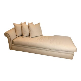 Custom Fainting Couch With Right Arm Rest and Textured Fabric For Sale