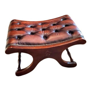 Vintage Chesterfield Button Tufted Oxblood Leather & Oak Taboret For Sale